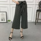 Women Black High Elastic Waist Ninth Loose Pants for Summer Wear Double line_One size