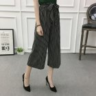 Women Black High Elastic Waist Ninth Loose Pants for Summer Wear Toothpick strip_One size