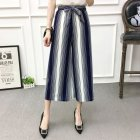 Women Black High Elastic Waist Ninth Loose Pants for Summer Wear Blue and white_One size