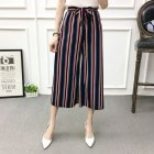 Women Black High Elastic Waist Ninth Loose Pants for Summer Wear Blue red strip_One size