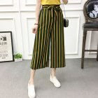 Women Black High Elastic Waist Ninth Loose Pants for Summer Wear Green strip_One size