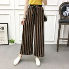 Women Black High Elastic Waist Ninth Loose Pants for Summer Wear Coffee strip_One size