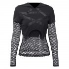 Women Black Mesh Splicing Hooded Slim Sweatshirts Top for Halloween black_M