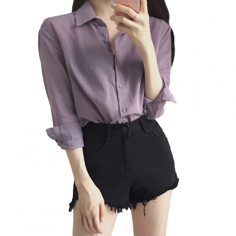 Women Blouse Lapel Shirt Long Sleeve Purple Casual Loose Base Shirt Tops purple_XL