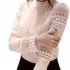 Women Blouses Slim Long sleeved White Shirt Lace Hook Flower Hollow Standing Collar Tops