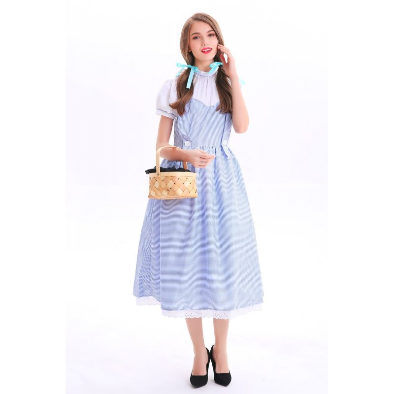 Women Blue Plaid Costume Cosplay Dress for Munich Beer Festival Halloween Light blue_S