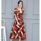 Women Bohemian Style V-neck Waisted Dress Off-shoulder Large Brim Dress red_XL