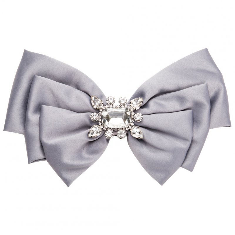 Women Bowknot Corsage Brooch Breastpin Multi-layered Alloy Inlaid Rhinestone Valentine's Day Gift gray