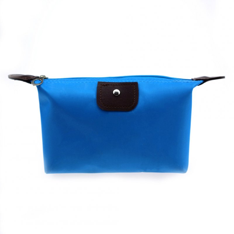 Women Bright Candy Color Handbag Toiletry Cosmetic Storage Bag Dumpling Clutch Bag Zipper Purse 12# reddish blue