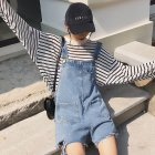 Women Broken Hole Loose High Waist Light Blue Wide Leg Suspender Trousers Light blue_L