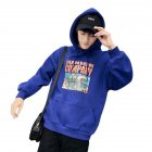 Women Cartoon Letters Printed Loose Long-Sleeved Casual Hoodie for Campus Dating blue_XL