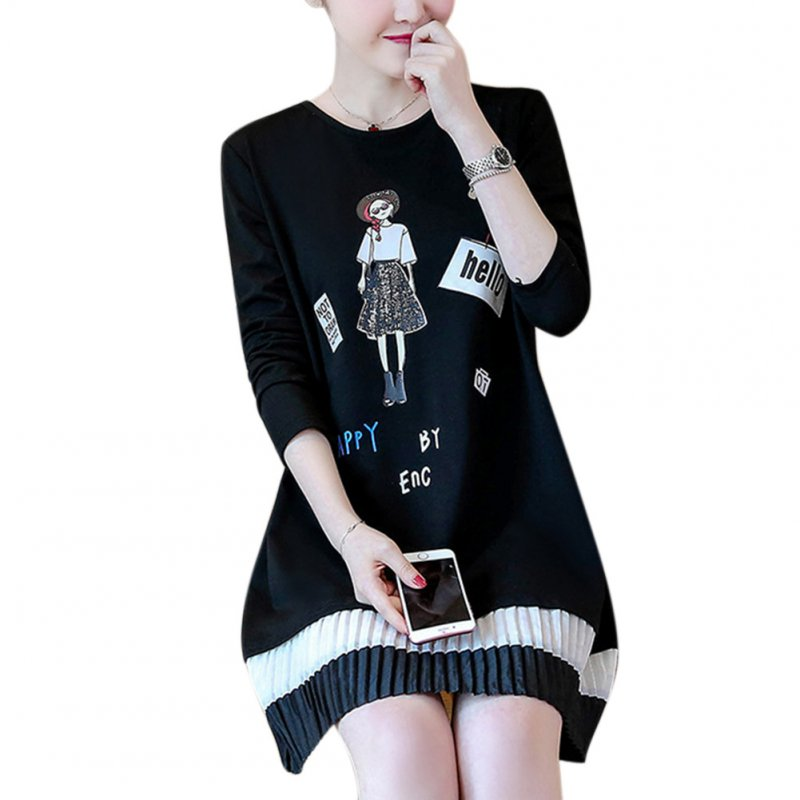 Women Cartoon Printed Fashion Fringe Ruffled Dress Round Collar Long Sleeve Dress