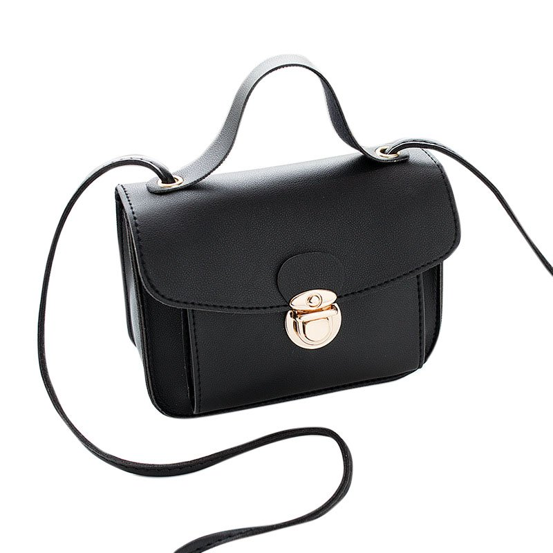 Women Casual Fashion Solid Color Single Shoulder Bag Sweet Style Mini Square Bag black