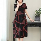 Women Casual Long Style Short Sleeve Printing Dress for Summer Wear red_L