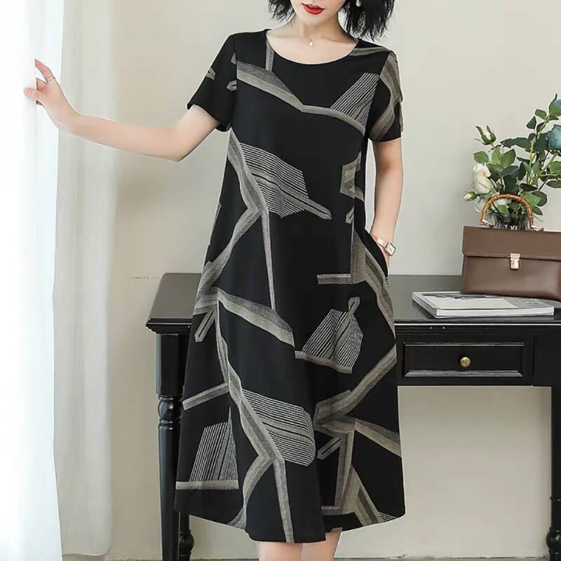 Women Casual Long Style Short Sleeve Printing Dress for Summer Wear gray_4XL