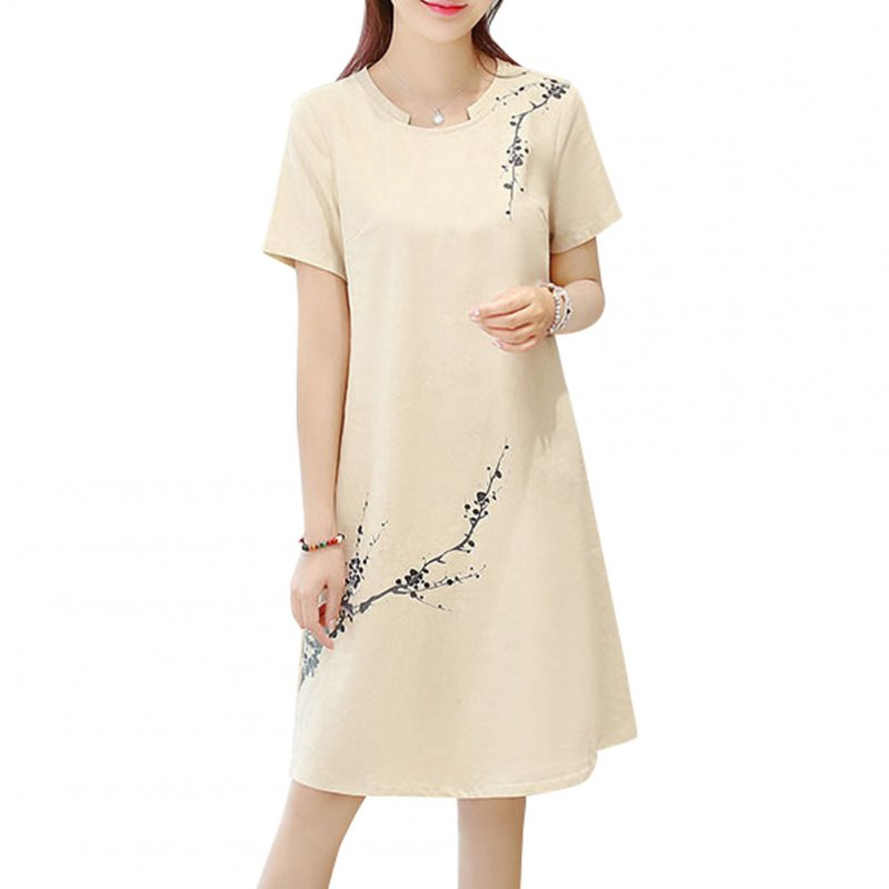 Women Flower Printing Short Sleeve Dress