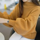 Women Casual Loose Lantern Sleeve Knitwear with Half High Neck Pullover Tops  yellow One size