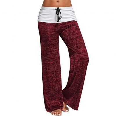 Women Casual Loose Pants Wide Trouser Legs for Yoga Sports  red_S