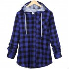 Women Casual Red Plaid Shirt Hooded Long Sleeve England Shirt Tops Men Harajuku Black Checkered Blouse Couple Clothes