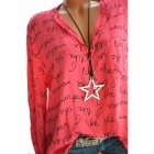 Women Casual Shirt V Neck Letters Print Long Sleeve Fashionable Pullover Top red L