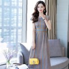 Women Casual Slim Fit Short Sleeve Mid-long Stripe Pattern Dress Photo Color_M
