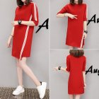 Women Casual Summer Half-length Sleeves Casual Asymmetric Long Dress red_L
