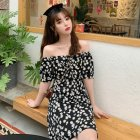 Women Chiffon Dress Off-shoulder Daisy Floral Print Short Sleeve Slim Summer Short Dress As shown_3XL