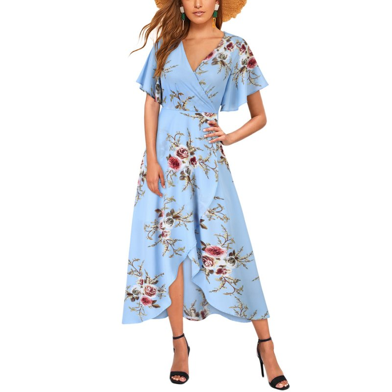 Women Chiffon Dress V-neck Floral Print Short Sleeve Middle Waist Split Maxi Dress