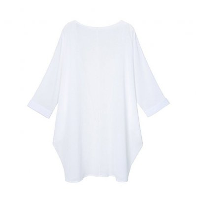 Women Chiffon Pure Color Sunshine-proof Summer Fashion Loose Tops white_S