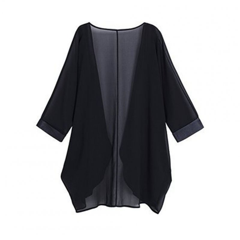Women Chiffon Pure Color Sunshine-proof Summer Fashion Loose Tops black_XL