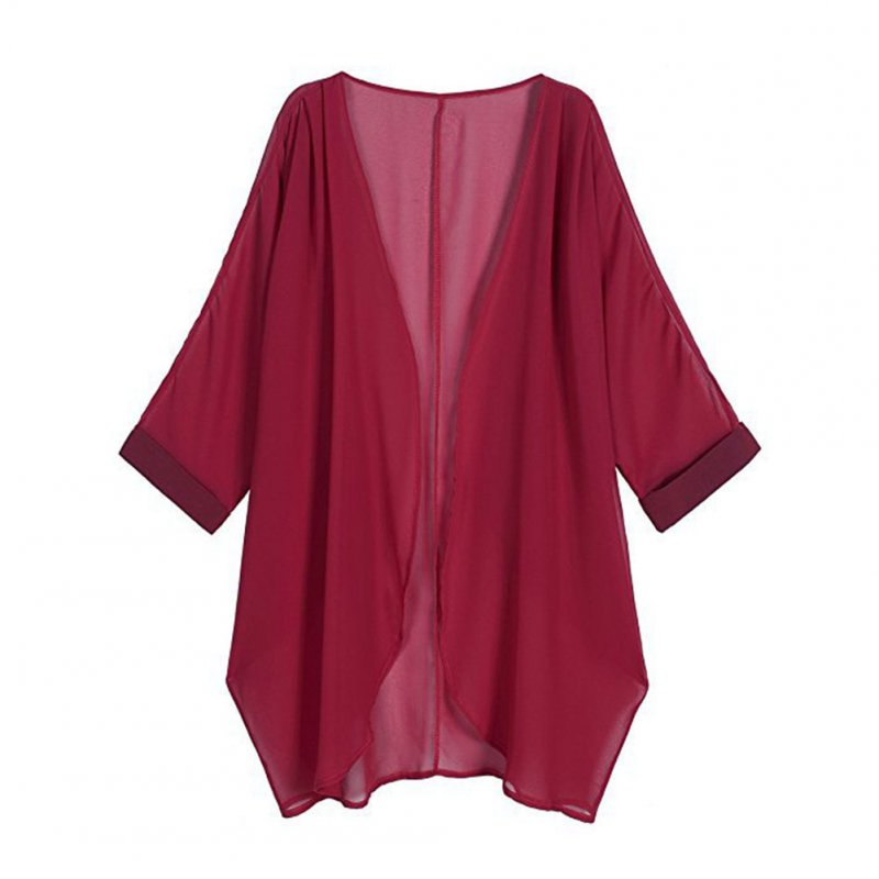 Women Chiffon Pure Color Sunshine-proof Summer Fashion Loose Tops Wine red_L