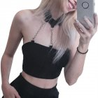 Women Cool Strapless Iron Chain Black Street Style Vest for Halloween black_M
