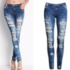 Women Cotton Elastic Pencil Pants Jeans Photo Color_L