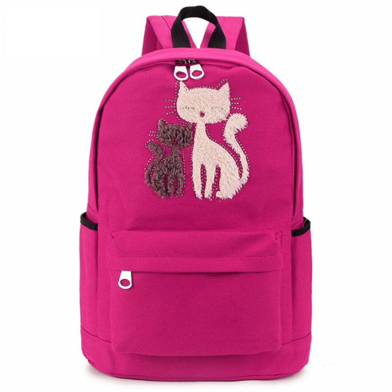 Women Cute Cat Pattern Casual Fashion Canvas Backpack College Students School Bag Travel Bag