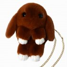 Women Cute Plush Fashion Cartoon Lovely Rabbit Single Shoulder Cross Bag Red wine