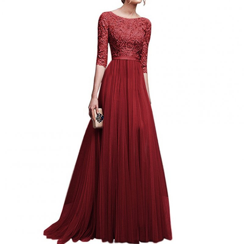 Women Delicate Chiffon Evening Dress Party Elegant Dresses Leisure Long Formal Dress Red wine_XXXL