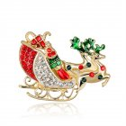 Women Delicate Christmas Style Santa Sleigh Design Brooch Perfect Wear Decoration AL161 A