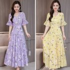 Women Delicate Flower Pattern Chiffon Lotus Leaf Sleeve Fashion Printing Long Dress purple M