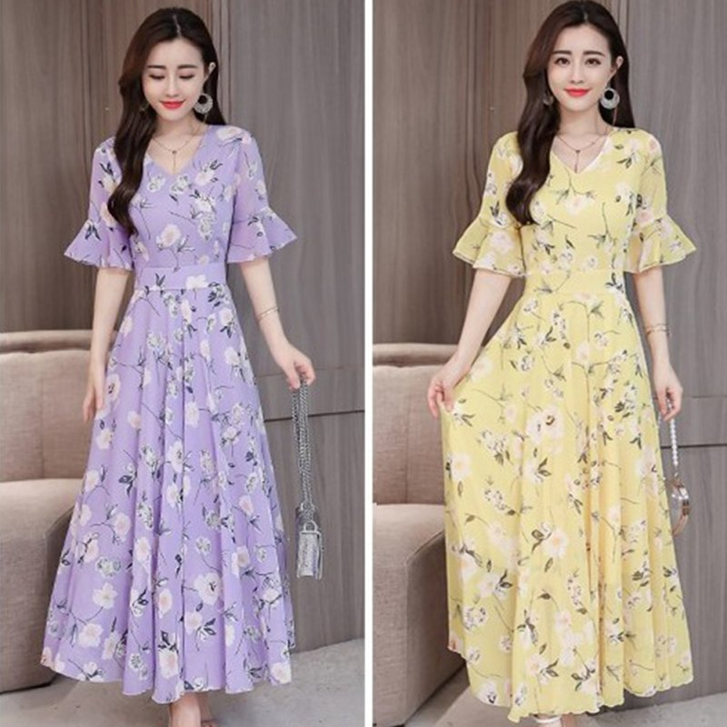 Women Delicate Flower Pattern Chiffon Lotus Leaf Sleeve Fashion Printing Long Dress purple_M