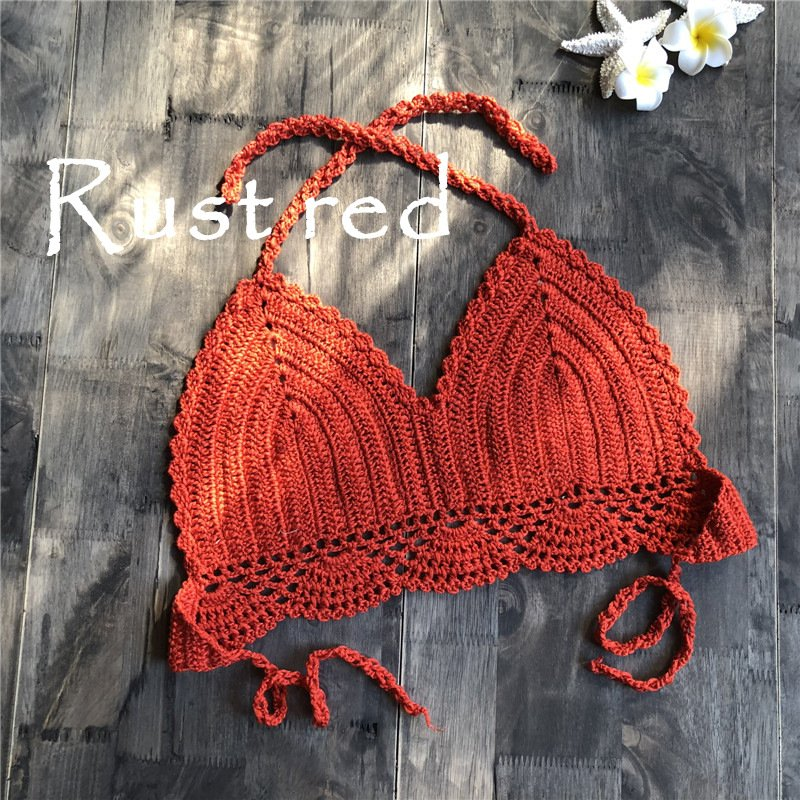 Women Delicate Knit Bikini Tops All-matching Bra Rusty red_M