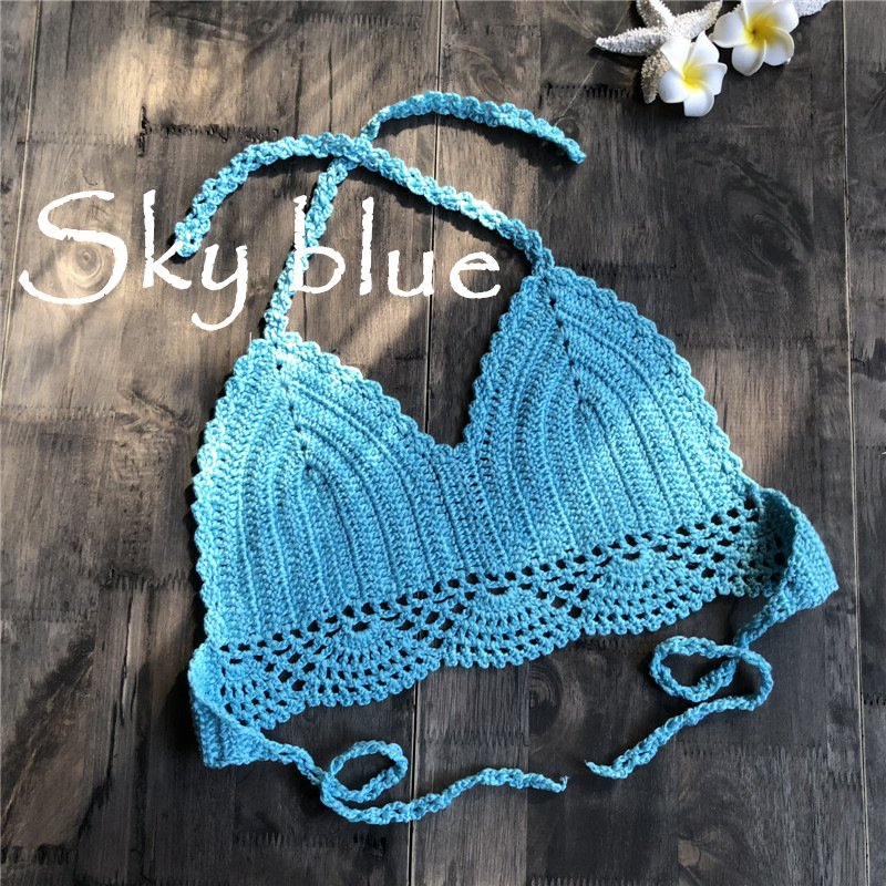 Women Delicate Knit Bikini Tops All-matching Bra sky blue_M