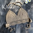 Women Delicate Knit Bikini Tops All-matching Bra Khaki_S
