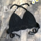 Women Delicate Knit Bikini Tops All-matching Bra black_S