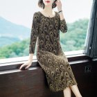 Women Dress Autumn Winter Long Sleeve Round Collar Printing Dress Gold_XXXL