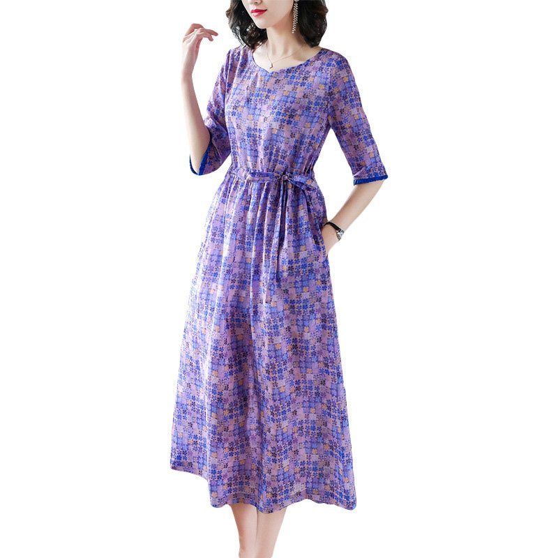Women Dress Flower Plaid Print Half Sleeve Slim Middle Waist Summer A-line Long Dress purple_XL