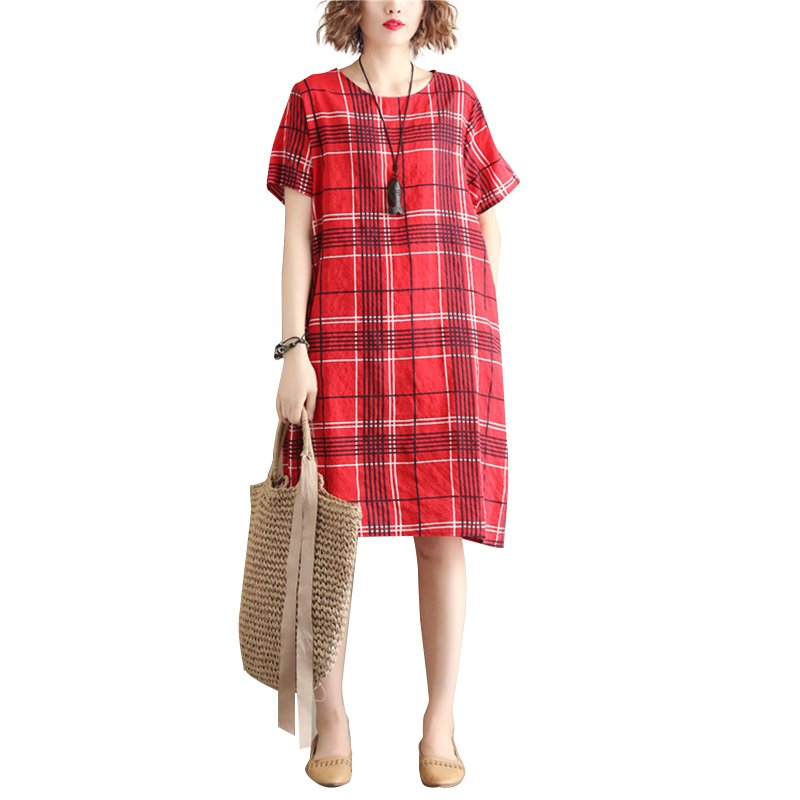 Women Dress Plaid Short Sleeve Crew Neck Loose Waist Summer Midi Dress with Pocket Red_L