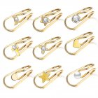 Women Ear Clips U Shape Rhinestone Earrings Simple Alloy Eardrop Jewelries Decoration 9pcs/set