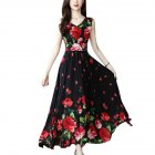 Women Elegant Fashion Summer Chic Flower Printing Thin Waist Sleeveless Long A-line Dress Photo Color_XL