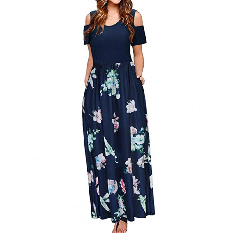 Women Elegant Off Shoulder Printing Long Style Pockets Dress Dark blue_S