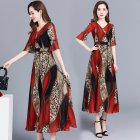 Women Elegant Print Knee-length Leopard Print Fashion Dress red_XL